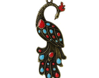 2 charms charm Peacock bronze colored enamel 61x22mm SC59198