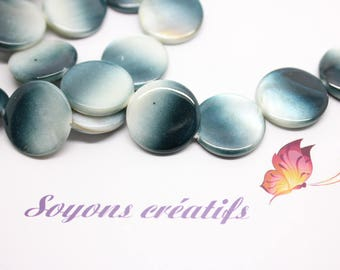 lot 5 mother of Pearl shell beads round white and blue 20mm - SC25480.