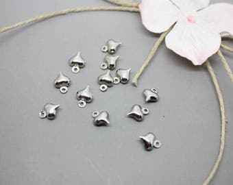 100 charms Charm silver heart 8mm x 6mm - SC21656-