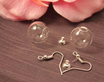 1 pair earrings color silver 16 mm glass Globe