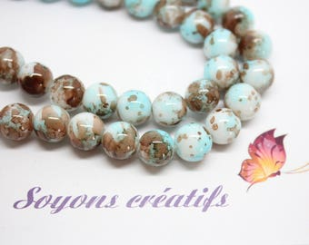 Lot 50 Brown marble Blue 10 mm - SC18254 - glass beads