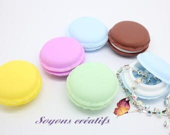 Set of 5 small boxes buttons mixed colours - 4.2x2cm