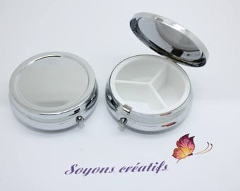 Box pill Silver 3 pockets to customize it for 40mm cabochon