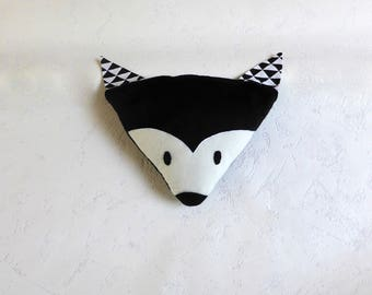 Pillows with soft black and white Fox head