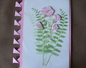 spring flowers and ferns card