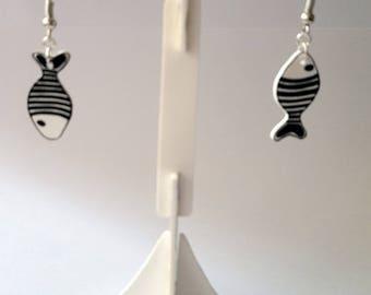 Shrink plastic fish earrings