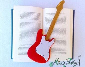segnalibro chitarra fender stratocaster in feltro bookmark guitar fender stratocaster in felt