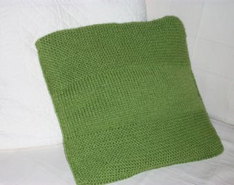 Acrylic hand knitted green Cushion cover