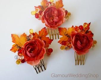 Wedding Hair Comb Fall Wedding Hair Comb Wedding Jewelry Bridal Hair Comb Bridesmaid Comb Bridal Jewelry flower girl Wedding Accessory