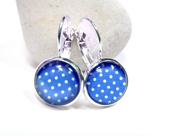 Earrings cabochon ● ● dots blue