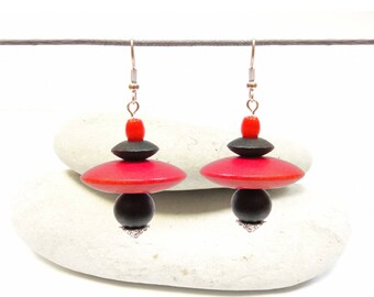 Small ethnic earrings colorful exotic wood