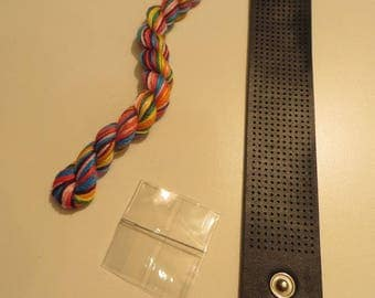 Kit for bracelet, embroidery FLOSS, black leatherette