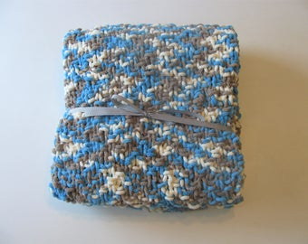 Blue and White Knit Baby Blanket