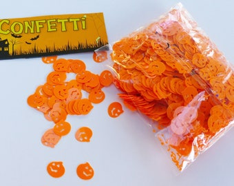 orange halloween pumpkin-shaped table confetti