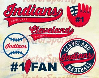 Cleveland Indians SVG, Cleveland Baseball, Cleveland Baseball DXF, Cleveland Indians Baseball Clipart, Baseball Clipart, Clipart Svg Png Eps