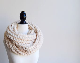 CREAM Crochet Infinity Scarf | Crocheted Scarf | Infinity Scarf