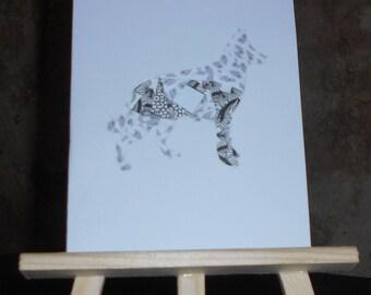 Dog in iris folding card