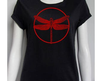 T-shirt woman, dragonfly, short sleeves, black, 100% cotton, 145 gsm, classic cut.