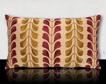 Pillow DESIGNER-leaves Oriental stylized Maluku islands in Indonesia-plum/green olive on beige background.
