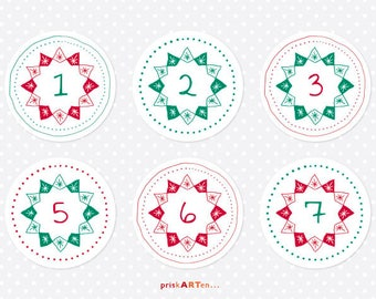 24x Advent calendar numbers stars Red Green