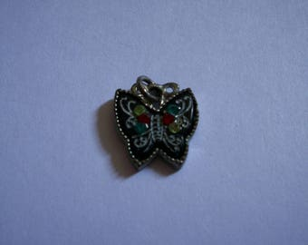 Black Butterfly charm and green and Red rhinestones