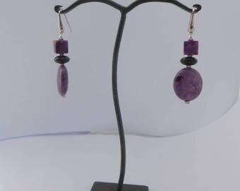 Earrings purple Agate onyx Bead + 20 mm