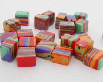 Natural agate Perls shape multicolor striped 8 mm cube. (9272286)