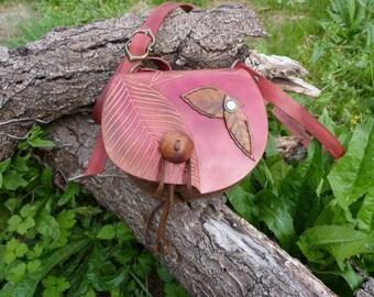 "Leaf Bag purse red ""fairy"""