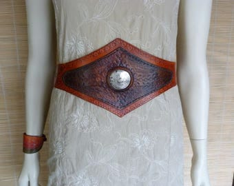Metal inlay waist cincher belt