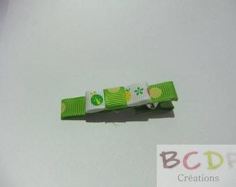Green Ladybug bow hair clip
