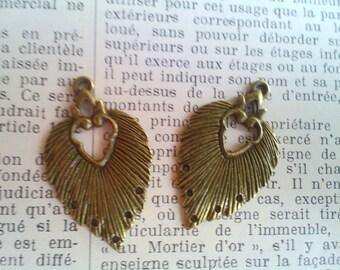 Lot de 2 beaux pendentifs lustres en laiton bronze antique 34x20 mm