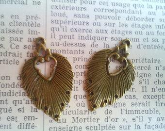 Set of 2 beautiful pendants chandeliers 34 x 20 mm antique bronze plated brass