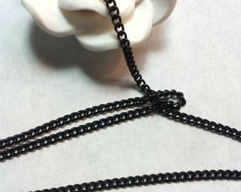 Brass chain / thin / flat / curb chain, black 0.6 mm, 2 x 3 mm