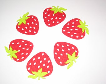 Set of 6 embellishments strawberries in red and green felt