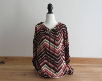 Blouse long sleeve red and black - size 38/40 - chevron winter 2017