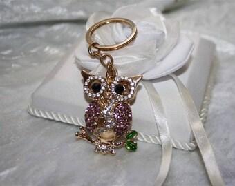 rhinestone OWL bag charm Keyring
