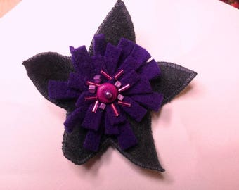 Dandelion in charcoal and purple felted wool brooch