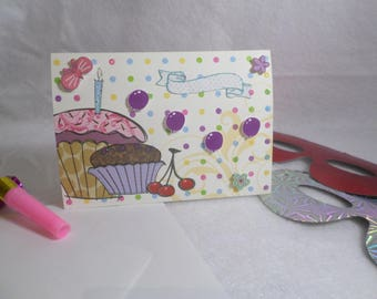Multicolored birthday cake card