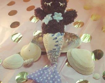 Mermaid bunny doll ooak handmade purple blue