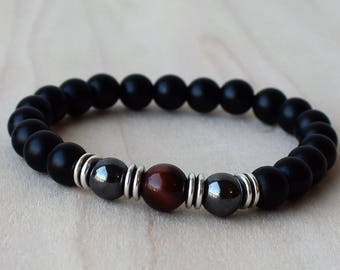 Mens Beaded Bracelets, Mens Bracelet, Mens Energy Bracelet, Hematite Bracelets, Red Tiger Eye Bracelet, Onyx Bracelet, Men Bracelet Gift