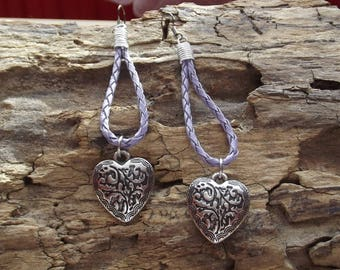 Faux purple leather and Heart Locket earrings