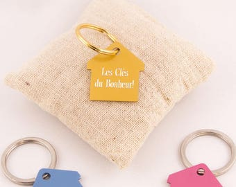 House color engraving personalized key chain