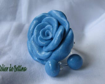 Blue rose stud earrings and ring set