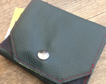 Handmade green and black simple leather wallet