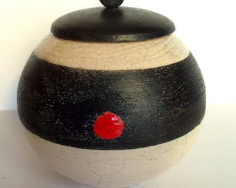 Urn, box has secret raku ceramic zen red black white Funeral urn animals dog cat, secret box