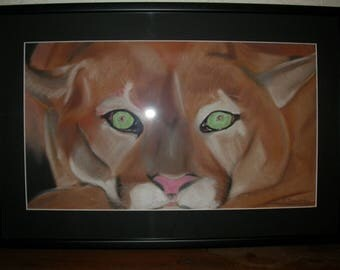 Pastel dry representing a mountain lion