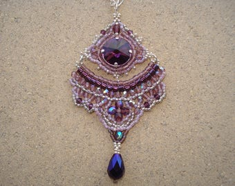 """Orchidée"" Crystal and glass with chain necklace"