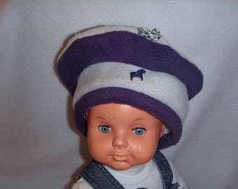 Fleece winter hat (baby - toddler up to 4 years) gray and plum