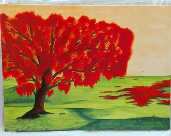 Orange - contemporary painting tree