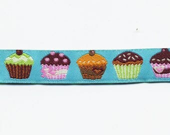 Turquoise cupcake jacquard woven Ribbon braid Fantasy by the yard